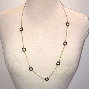 Kate Spade Hole Punch Gold & Black Long Necklace